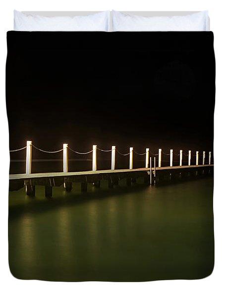 Ocean Pool By Night 2 Duvet Cover by Kaye Menner