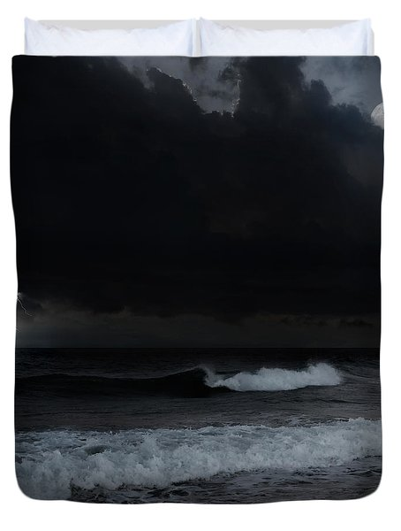 Ocean Storm Square Duvet Cover by Bill  Wakeley