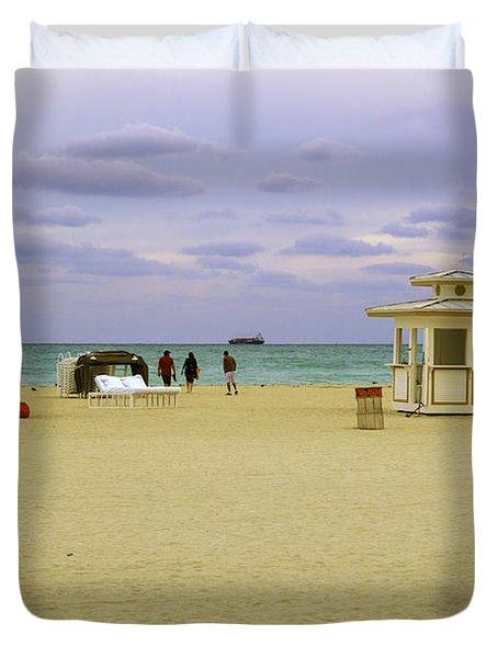 Ocean View 3 - Miami Beach - Florida Duvet Cover by Madeline Ellis