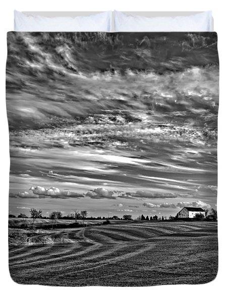 October Patterns bw Duvet Cover by Steve Harrington