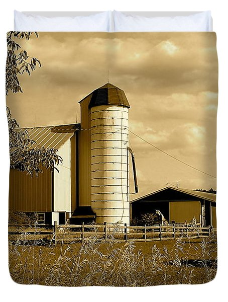 Ohio Farm In Sepia Duvet Cover by Frozen in Time Fine Art Photography