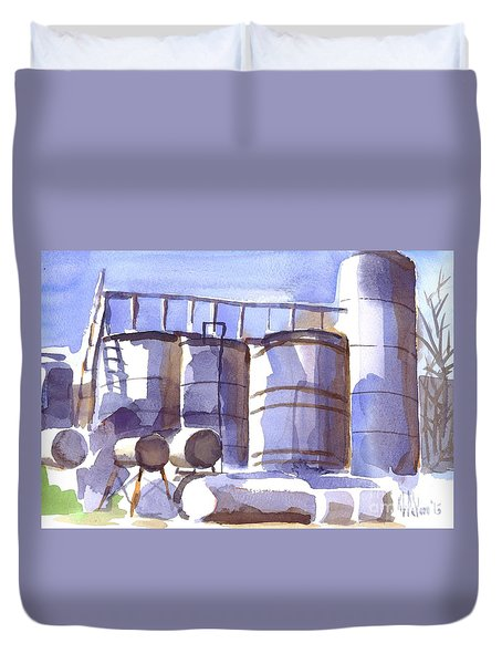 Oil Depot In April Duvet Cover by Kip DeVore