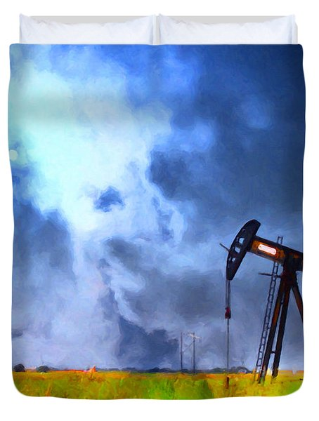 Oil Pump Field Duvet Cover by Wingsdomain Art and Photography