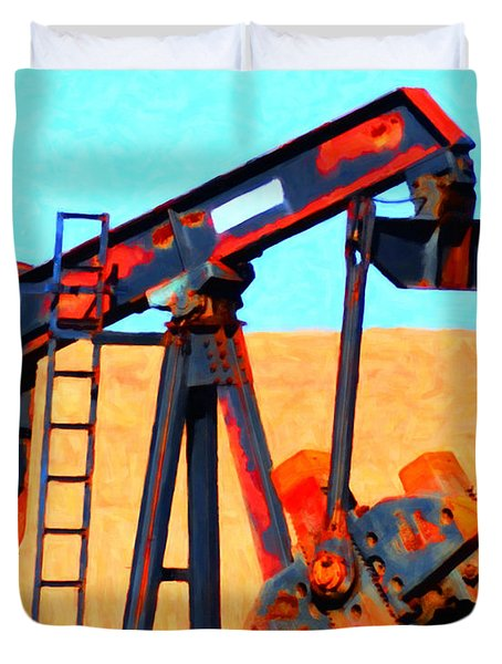 Oil Pump - Painterly Duvet Cover by Wingsdomain Art and Photography