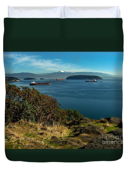 Oil Tankers Waiting Duvet Cover by Robert Bales