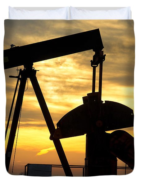 Oil Well Pump Sunrise Duvet Cover by James BO  Insogna
