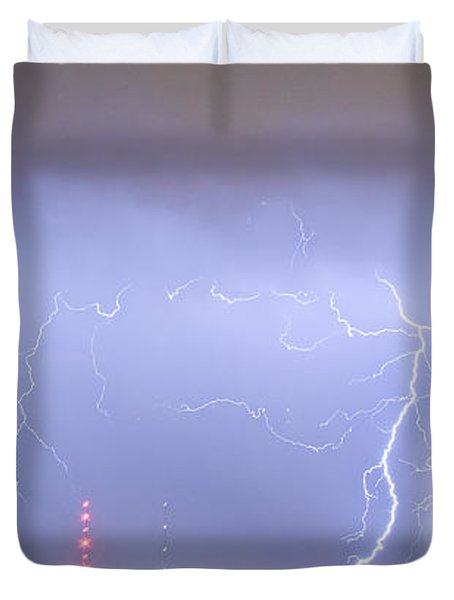 Oil Well Pumpjack Thunderstorm Panorama Duvet Cover by James BO  Insogna