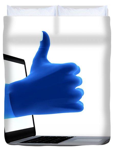 Okay Gesture Blue Hand From Screen Duvet Cover by Michal Bednarek