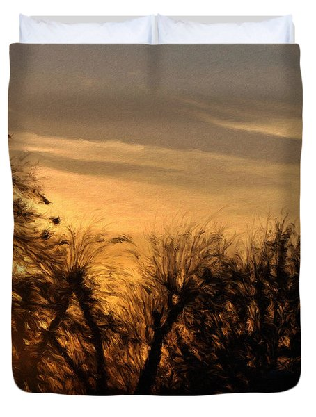 Oklahoma Sunset Duvet Cover by Jeff Kolker