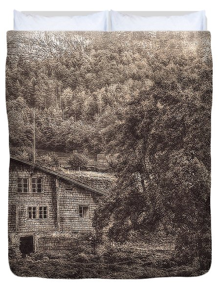 Old And Abandoned - Sepia Duvet Cover by Hanny Heim