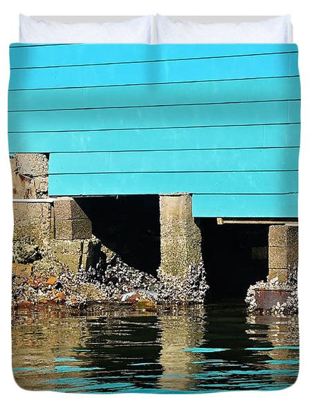 Old Aqua Boat Shed with Aqua Reflections Duvet Cover by Kaye Menner