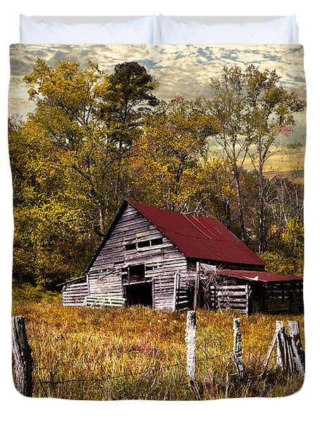 Old Barn In Autumn Duvet Cover by Debra and Dave Vanderlaan