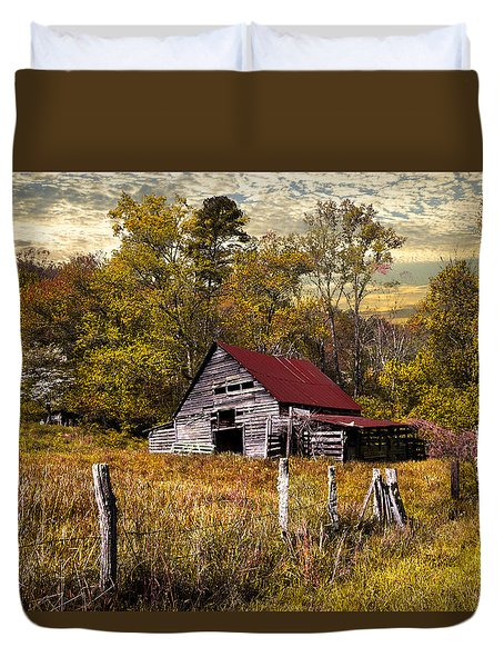 Old Barn In Autumn Duvet Cover by Debra and Dave Vanderlaan