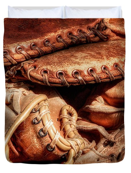 Old Baseball Gloves Duvet Cover by Bill  Wakeley