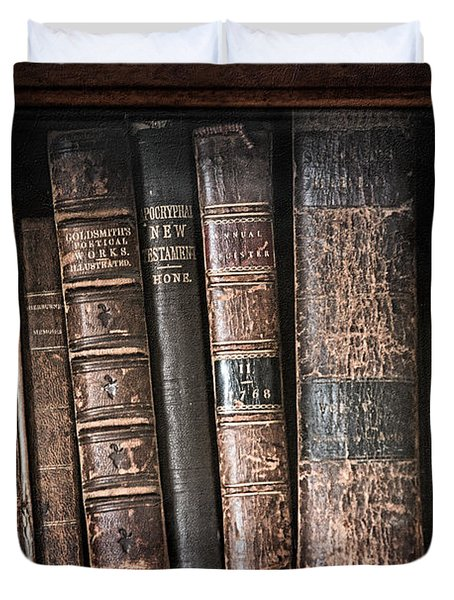 Old Books On The Shelf - 19th Century Library Duvet Cover by Gary Heller