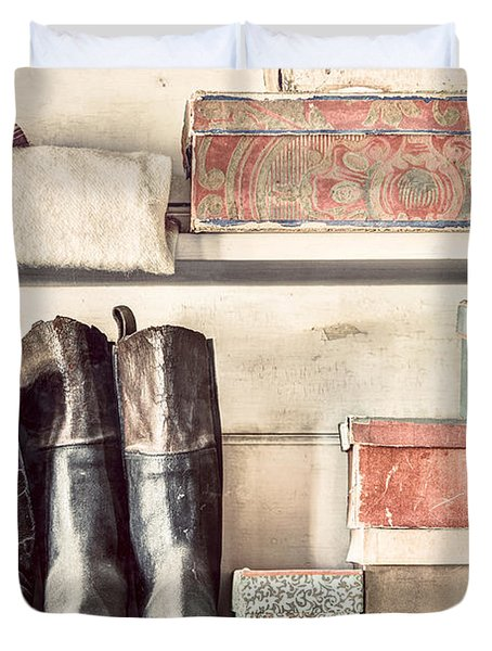 Old Boots And Boxes - On The Shelves Of A 19th Century General Store Duvet Cover by Gary Heller