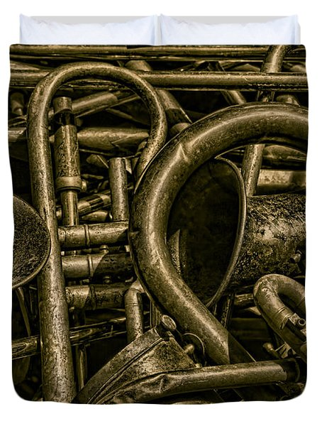 Old Brass Musical Instruments Duvet Cover by David Gordon