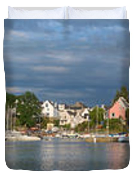 Old Bridge Over The Sea, Le Bono, Gulf Duvet Cover by Panoramic Images
