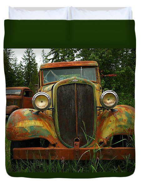 Old Cars Left To Decorate The Weeds Duvet Cover by Jeff Swan
