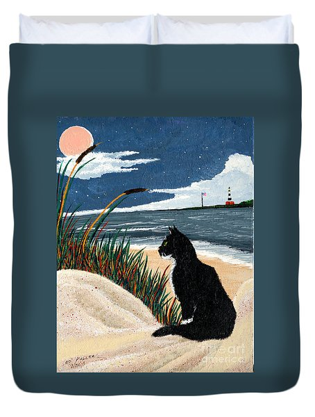 Old Cat And The Sea Duvet Cover by Edward Fuller