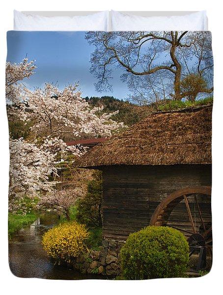 Old Cherry Blossom Water Mill Duvet Cover by Sebastian Musial