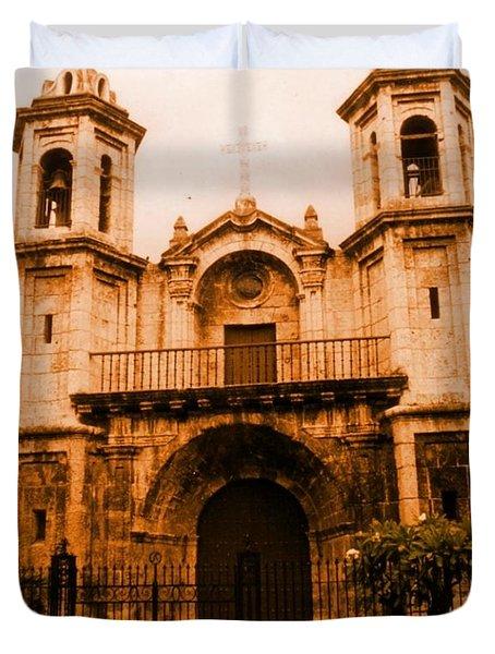 Old Colonial Church In Varadero Cuba Duvet Cover by John Malone