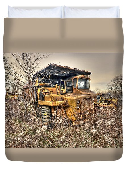 Old Construction Truck Duvet Cover by Dan Friend