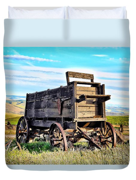 Old Covered Wagon Duvet Cover by Athena Mckinzie