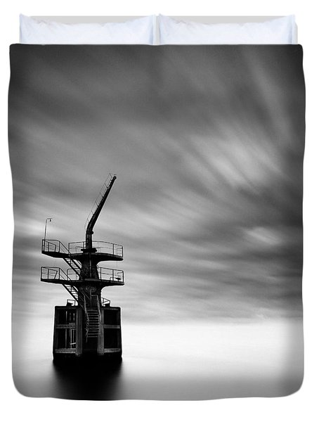 Old Crane Duvet Cover by Dave Bowman