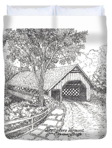 Old Creamery Bridge In Brattleboro Vermont Duvet Cover by Carol Wisniewski