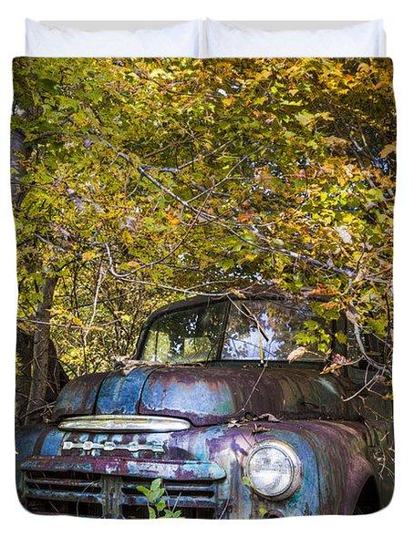 Old Dodge Duvet Cover by Debra and Dave Vanderlaan
