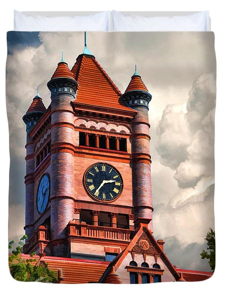 Old Dupage County Courthouse Clouds Duvet Cover by Christopher Arndt