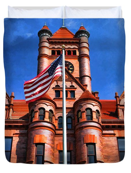 Old Dupage County Courthouse Flag Duvet Cover by Christopher Arndt