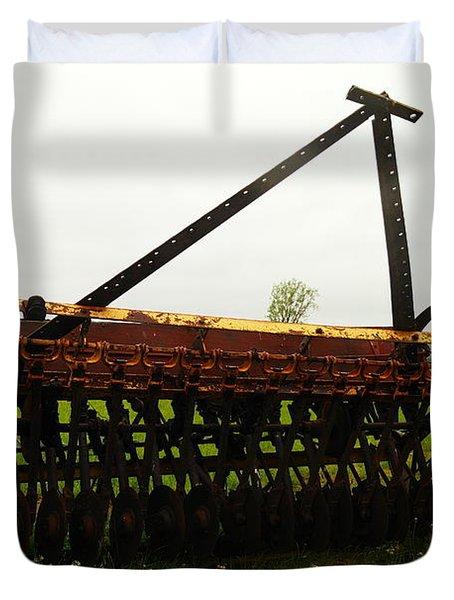 Old Farm Equipment Duvet Cover by Jeff Swan