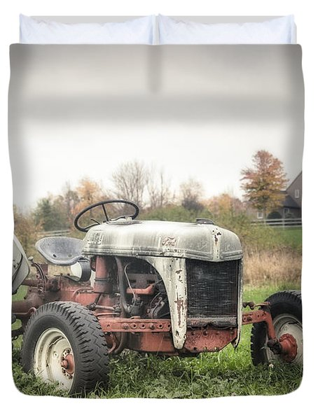 Old Ford Tractor And Farm House Duvet Cover by Gary Heller