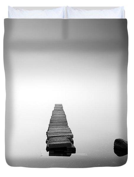 Old Jetty In The Mist Duvet Cover by Grant Glendinning