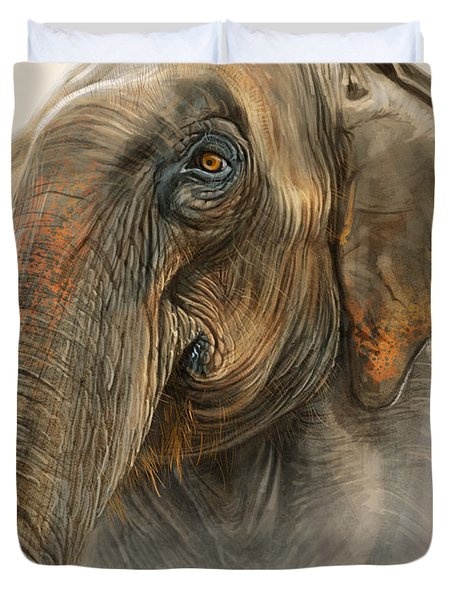 Old Lady Of Nepal 2 Duvet Cover by Aaron Blaise