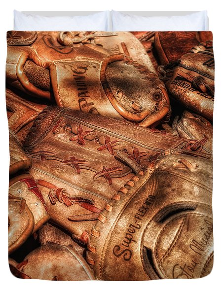 Old Leather Duvet Cover by Bill  Wakeley