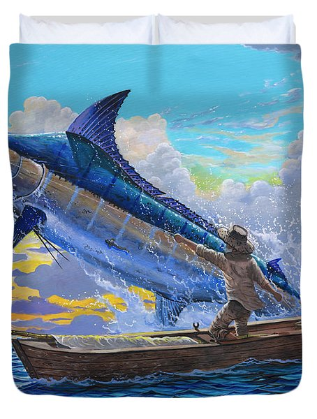 Old Man's Battle Off00133 Duvet Cover by Carey Chen