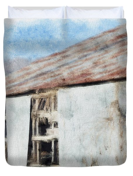 Old Metel Shed Painted Effect Duvet Cover by Debbie Portwood