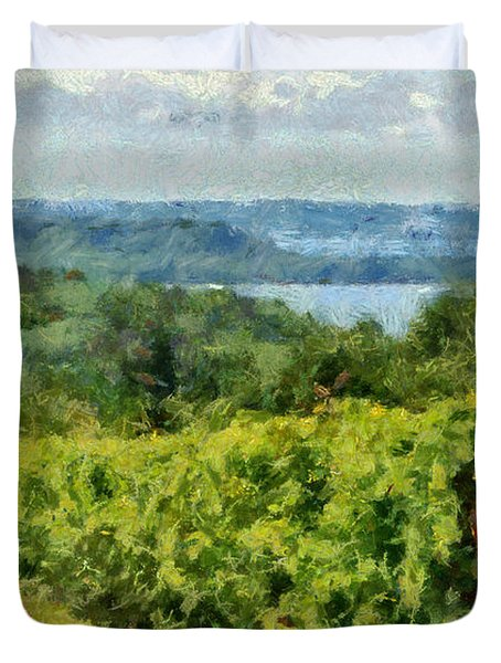 Old Mission Peninsula Vineyard Duvet Cover by Michelle Calkins