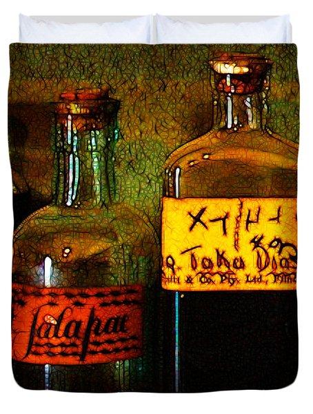 Old Pharmacy Bottles - 20130118 V1b Duvet Cover by Wingsdomain Art and Photography