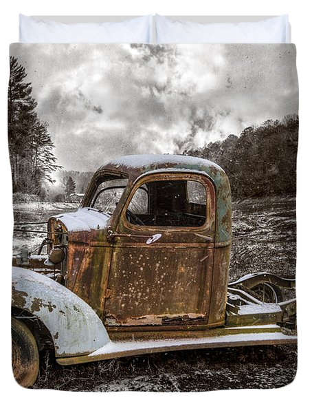 Old Plymouth Duvet Cover by Debra and Dave Vanderlaan