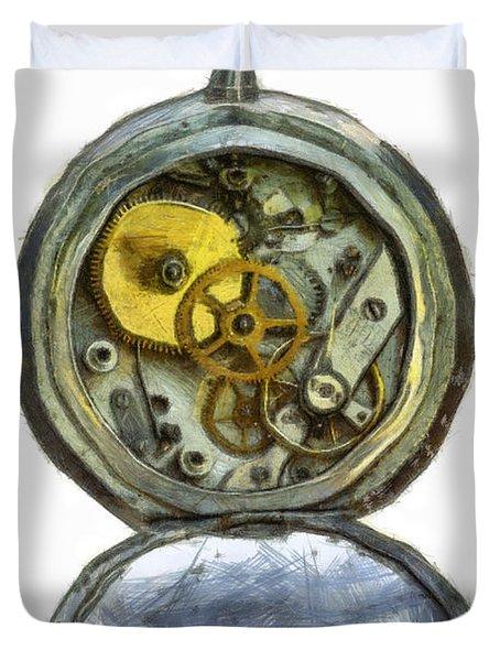 Old Pocket Watch Duvet Cover by Michal Boubin