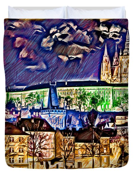 Old Prague Magic - Wallpaper Duvet Cover by Daniel Janda