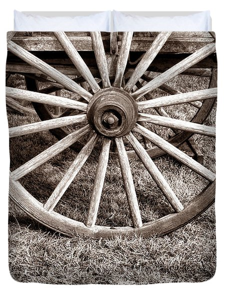 Old Prairie Schooner Wheel Duvet Cover by American West Legend By Olivier Le Queinec