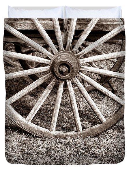 Old Prairie Schooner Wheel Duvet Cover by American West Legend By Olivier Le Queinec