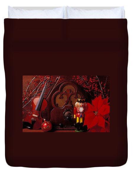 Old Raido And Christmas Nutcracker Duvet Cover by Garry Gay