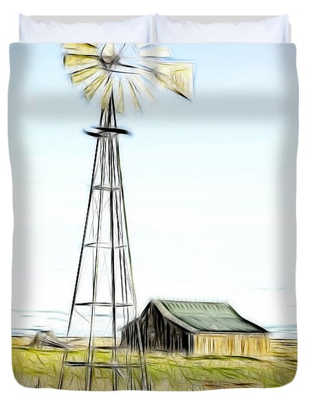 Old Ranch Windmill Duvet Cover by Steve McKinzie