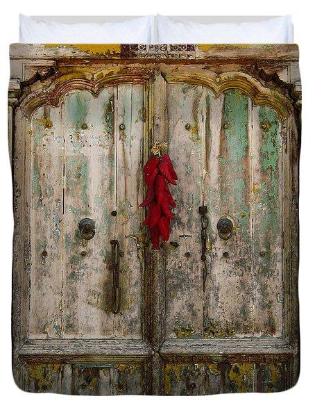 Old Ristra Door Duvet Cover by Kurt Van Wagner
